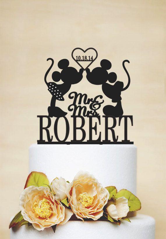 Mickey und Minnie Hochzeitstorte Topper, Custom-Herr und Frau Wedding Cake Topper mit Nachnamen, benutzerdefinierte Hochzeit Dekoration-C045