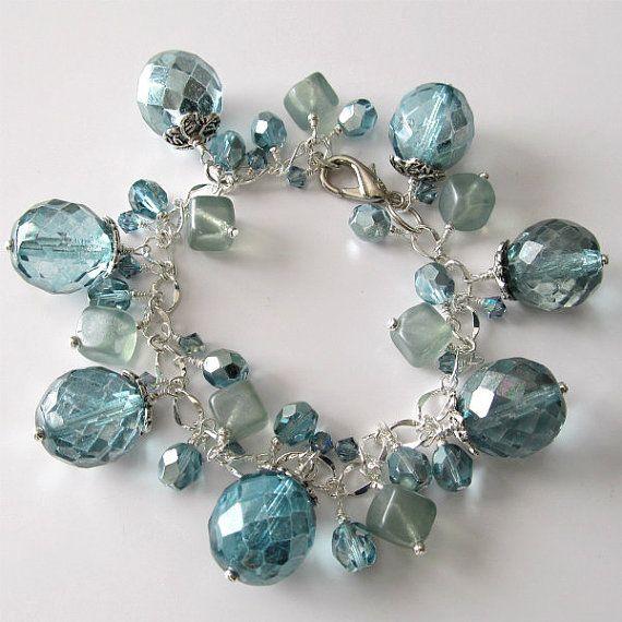 Aqua beaded charm bracelet large beads by PacificJewelryDesign