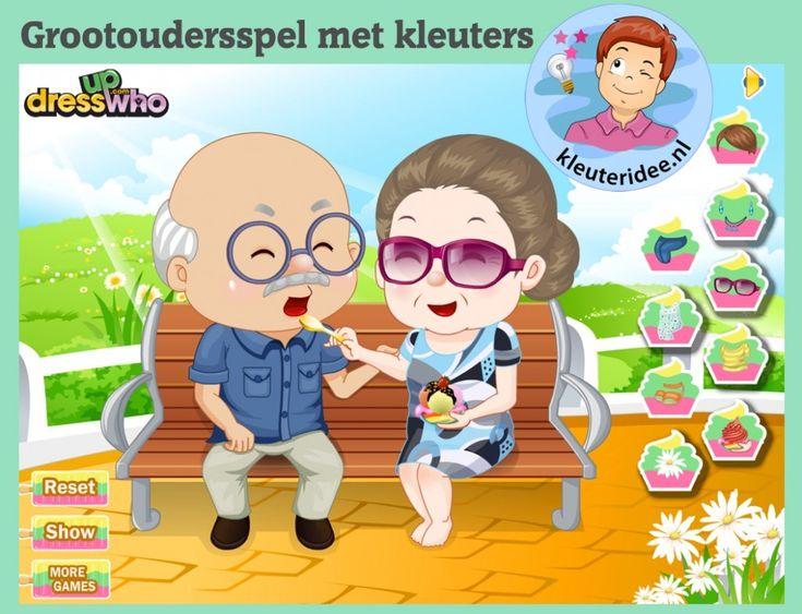 Opa en oma spel voor kleuters op digibord of computer op kleuteridee.nl, Kindergarten grandparents game for IBW or computer, Kinderboekenweek 2016