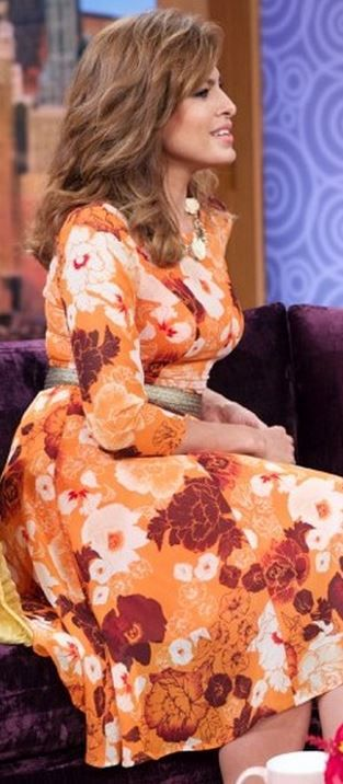Eva Mendes' orange floral print dress