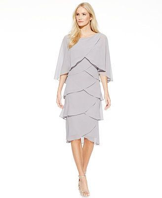 $89 T8 T10 T12  SL Fashions Chiffon Tiered Capelet Shift Dress: