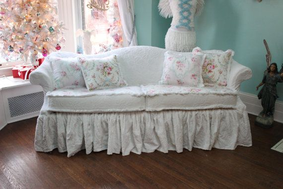 shabby chic sofa couch ruffle roses white by VintageChicFurniture