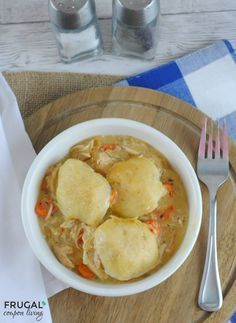 Easy Slow Cooker Chicken and Dumplings - We love this easy week night dinner idea. Tasty Dumplings made with Refrigerated Biscuits. Dump, cook, devour! #pillsbury #recipes #chickenanddumplings #chickenrecipe #dumplings #chicken #slowcooker #slowcookerrecipe #crockpot #CrockPotRecipes #crockpotmeals