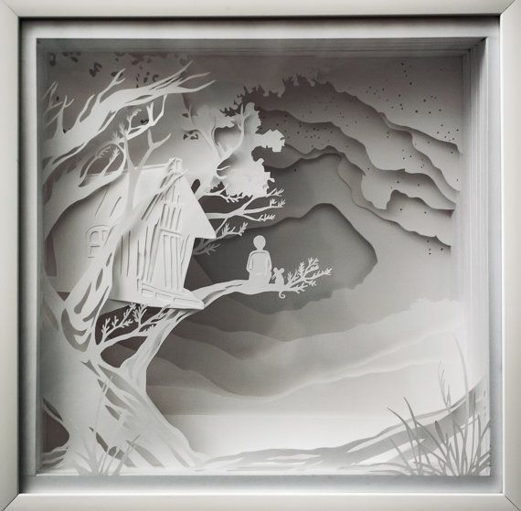 boy with a little mouse Shadow box paper cut by ShadowBoxesCK