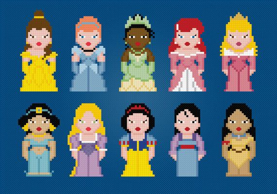 Disney Princess - Cross Stitch PDF Pattern Download via Etsy