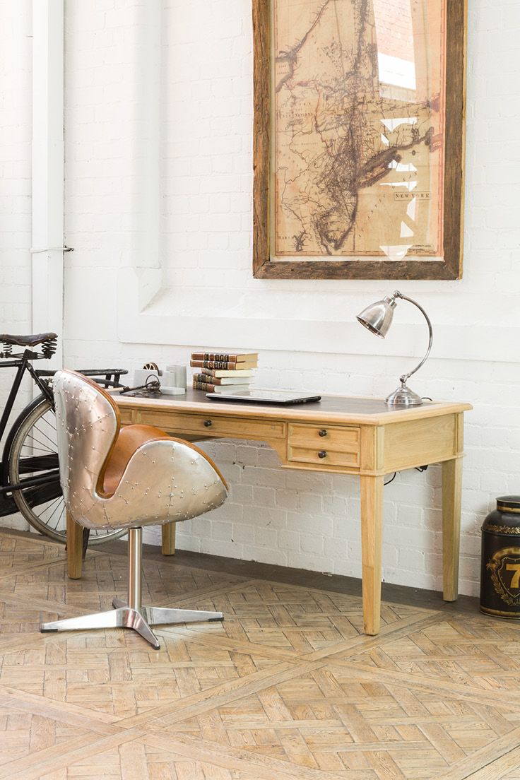 Solid Weathered Oak Writers Desk with Leather Top | Stunning addition to home or office interiors | Shop huge range of furniture at Schots in Melbourne & Geelong, Australia or online at www.schots.com.au
