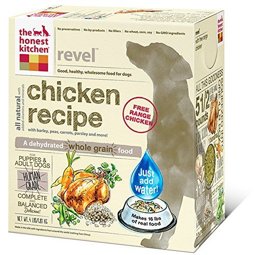 The Honest Kitchen Revel Chicken and Whole Grain Dog Food, 4-Pound Honest Kitchen- enough to adjust her food before and provide during the trip- supplement with those other bars