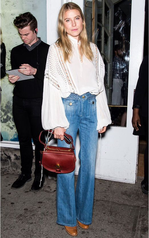 #DreeHemingway carefree peasant blouse and high waisted flares. NYC