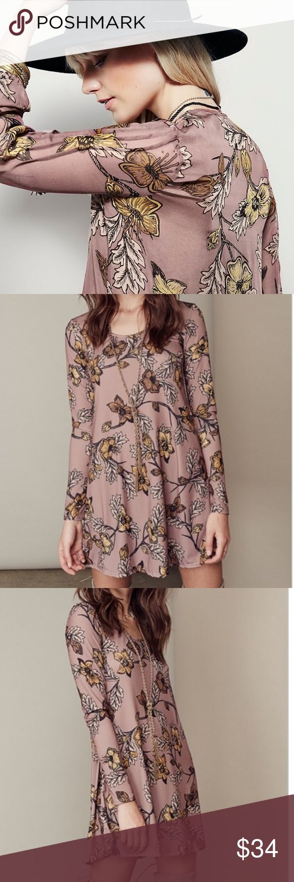 """Floral Stretch Shift DRESS Longsleeve BRAND NEW!! Longsleeve Shift Dress in a beautiful all over Floral print perfect for the season.    S: Bust: 34.8""""/Length: 33.1"""" M: Bust: 37.2""""/Length: 33.6"""" L: Bust: 39.1""""/Length: 34.1""""  🌟🌟Item is Brand New, direct from the Manufacturer, & Sealed in Pkg. 🌟🌟 austin gal Dresses Long Sleeve"""