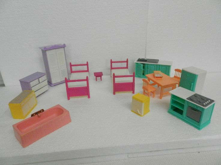 Vintage Seven Towns Dollhouse Furniture ~ 14 Plastic Pieces ~ Used | eBay
