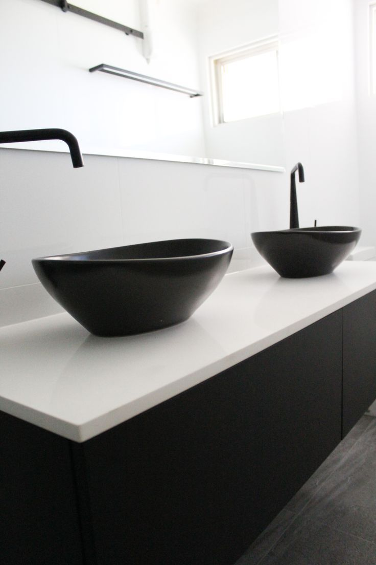 Small Ensuite Black Sinks Wall Hung Vanity White Benchtop Back To Wall Toilet On The B Black Vanity Bathroom White Vanity Bathroom Black Bathroom Sink