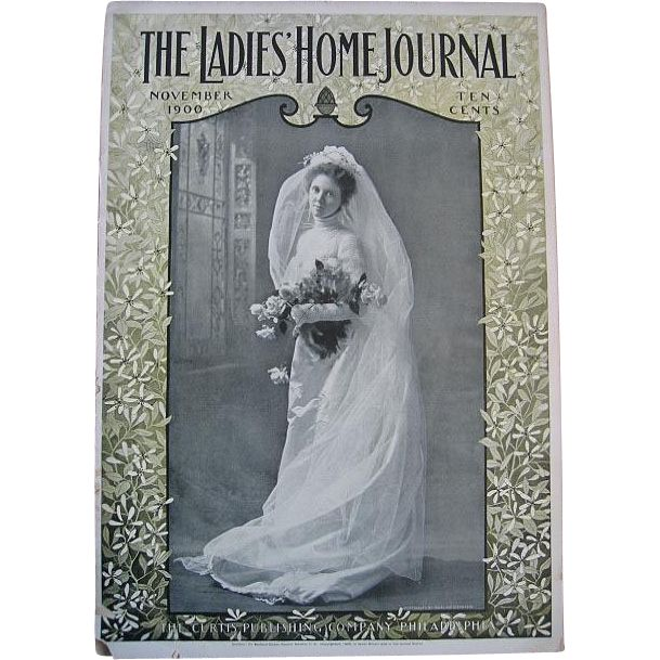 c1900 Antique Bride Ladies Home Journal Magazine Paris Art Fashion Dress Bridal Millinery Print Buy now at Victorian Rose Prints on rubylane.com