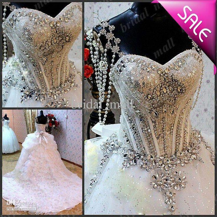 Sparkle wedding dress ballgown ball gown strapless for Silver beaded wedding dress