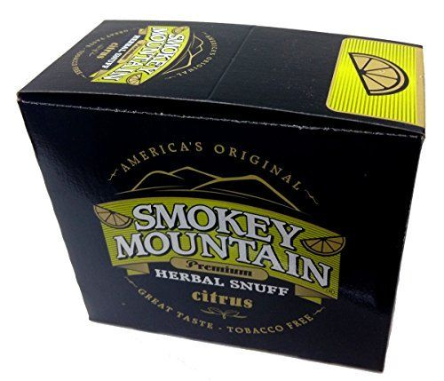 Smokey Mountain Snuff 10 Can Box - BRAND NEW FLAVOR - Citrus:   If you're an old school dipper looking for a loose alternative to your smokeless tobacco brand, then you'll be interested in Smokey Mountain Snuff. Smokey Mountain Snuff is actually more of a long cut, and it is available in seven great flavors. This loose non-tobacco snuff is designed to provide exceptional taste and superior mouthfeel. Finally, all Smokey Mountain snuff brands are manufactured in small batches to ensure ...