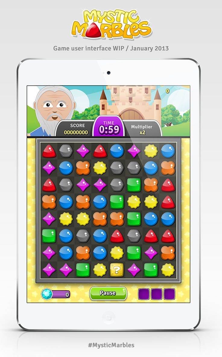 Mystic Marbles game user interface WIP (January 2013). #MysticMarbles #iPhone #iPad #Android #Game