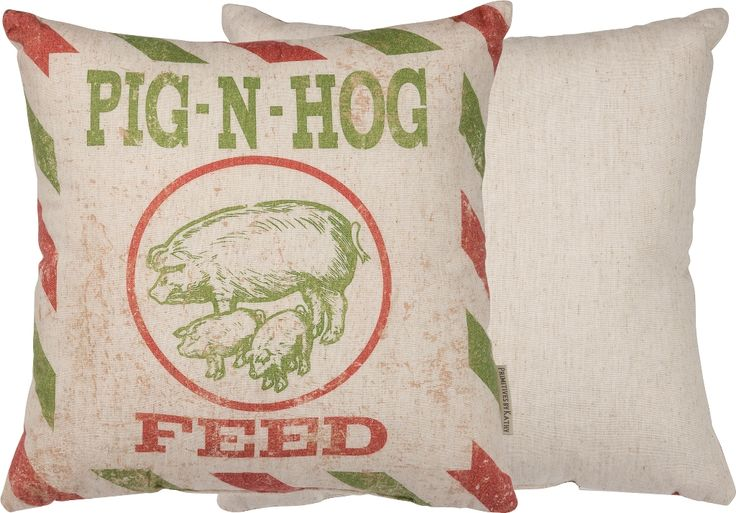 """Feed Sack Pillow - Pig N Hog Feed -- Old Farmer's Almanac store -- Cotton, Linen -- 14"""" square -- $21.96 -- 8-20-16"""