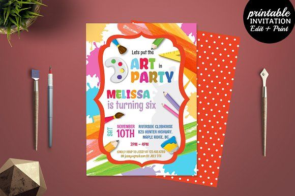 Art Party Birthday Invitation by Incredible Prints on @creativemarket