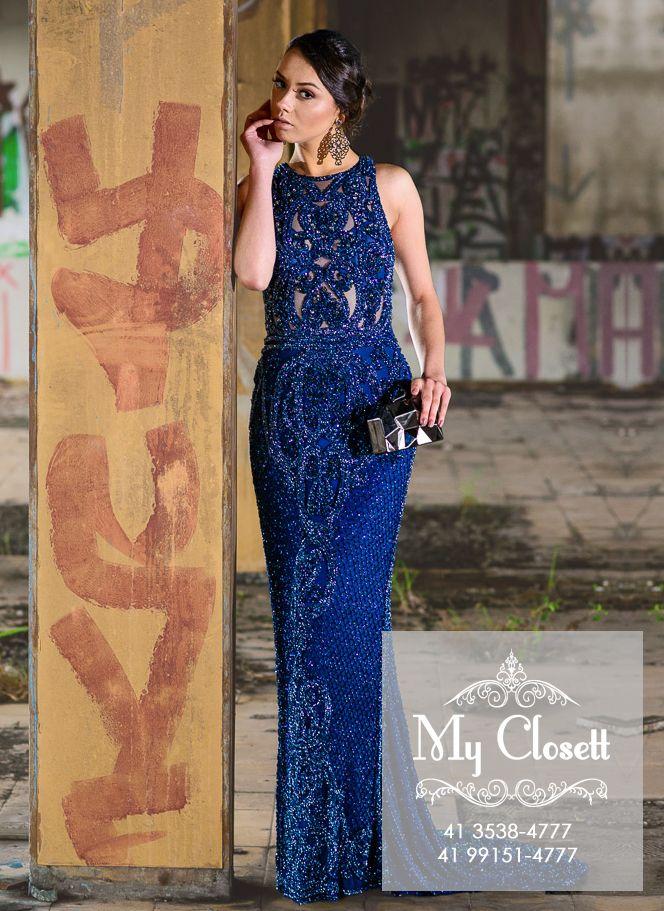 0663148656c Vestido longo de festa  formatura  formanda  brilho  bordado a mão  vestido  azul  vestido de grife.