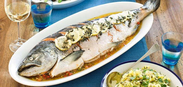Whole baked salmon in parcel recipe
