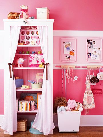 girls room idea for hanging storage and bookcase with curtains. frame off