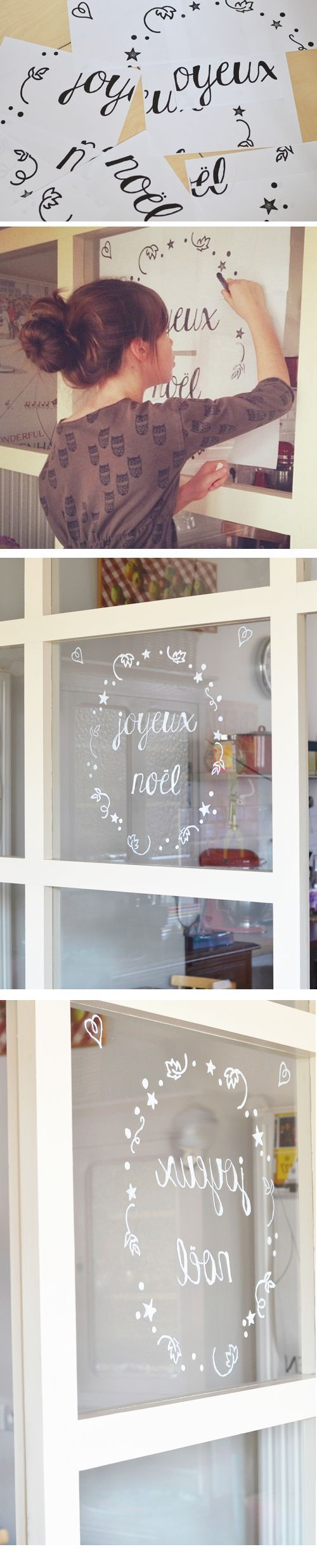 Joyeux Noël window decoration tutorial in French by L'encre violette with template. Lovely!