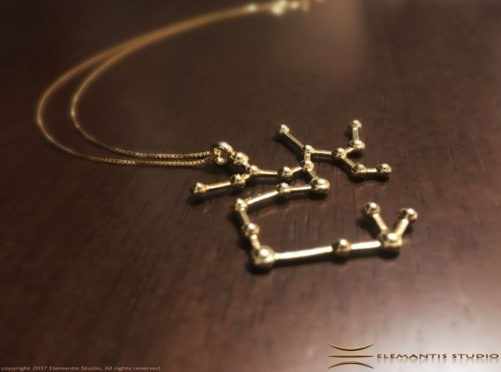 Sagittarius Zodiac Constellation Pendant 3d printed Polished Brass example (Chain not included) #sagittarius #sagittariusJewelry #sagittariusPendant