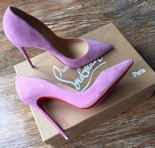 Light Pink Lavender Suede Christian Louboutin Red Bottoms Pointed Toe High Heels