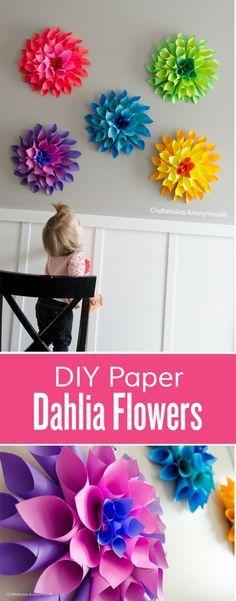 Papierblumen ganz einfach selbst gemacht. Ideal als Bastelidee für die Kids.