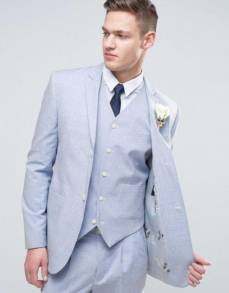 ASOS WEDDING Slim Suit Jacket In Light Blue Crosshatch Texture With Fl