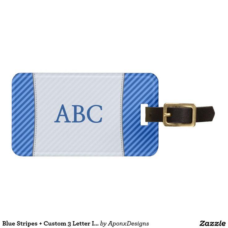 Blue Stripes + Custom 3 Letter Initials