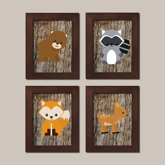 WOODLAND Nursery Art Animals Rustic Country Baby Boy Decor Raccoon Bear Deer Fox Wall Art Set of 4 Prints Woodland Decor Bedding Picture