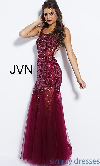 8d5e5d9dba JVN by Jovani Drop-Waist Beaded Sleeveless Prom Dress