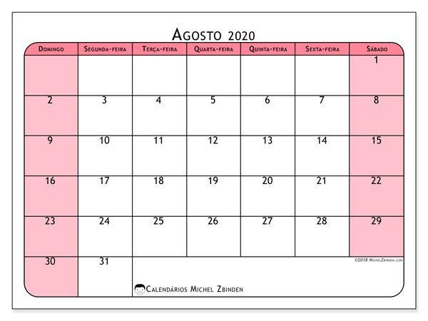 Agosto 2020 Calendario.Calendario Agosto 2020 64ds Ji Calendario Novembro