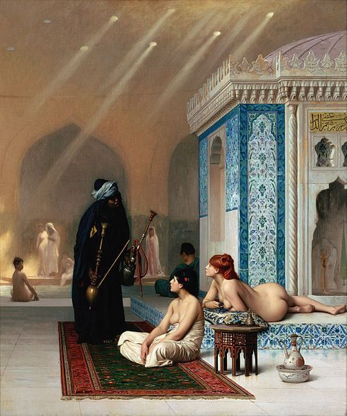 Jean-Leon Gerome, Pool in a Harem, 1876. Again the viewer sees the treatment of women, the architecture and the typical clothing.