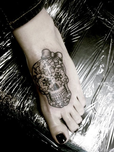 Sugar skull tattoo with bow need to add color and not on for Skull love tattoos