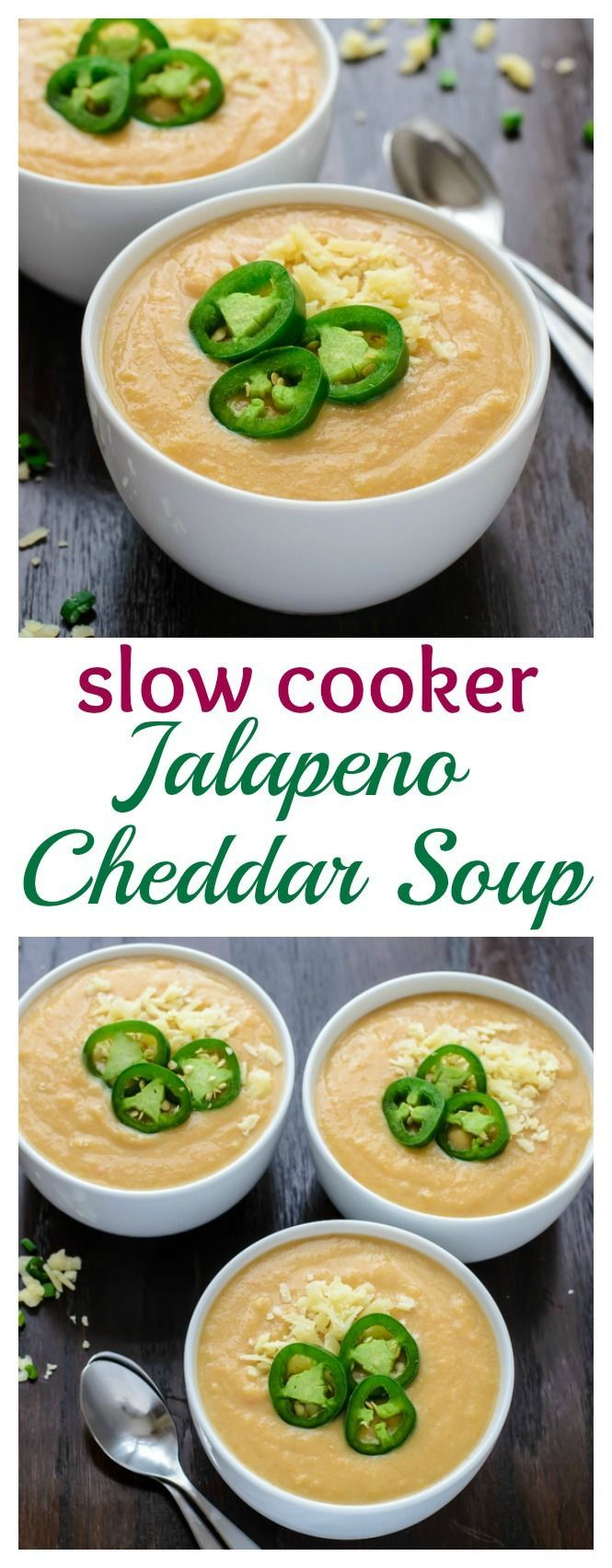 Slow Cooker Jalapeno Cheddar Cheese Soup. A thick and creamy cheesy potato soup with a kick!