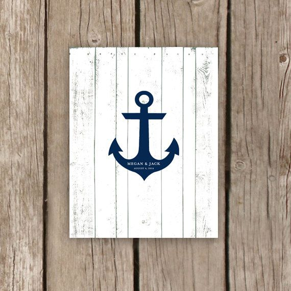 Anchor Guest Book Beach Wedding Guest Book by MooseberryPrintShop, $38.00