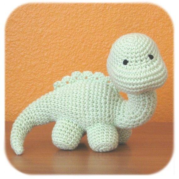 Dinosaur crochet amigurumi plush in mint green cotton yarn stuffed animal
