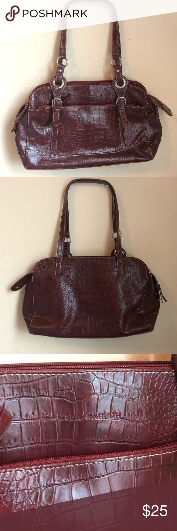 Maroon Crocodile Leather Purse Maroon purse. Faux leather. 3 separate sections in the center. Literally like brand new! Used once. Brand is sag harbor. • No Trades • Price is firm unless bundled • 15% off of BUNDLES of 3 or more • Saks Fifth Avenue Bags