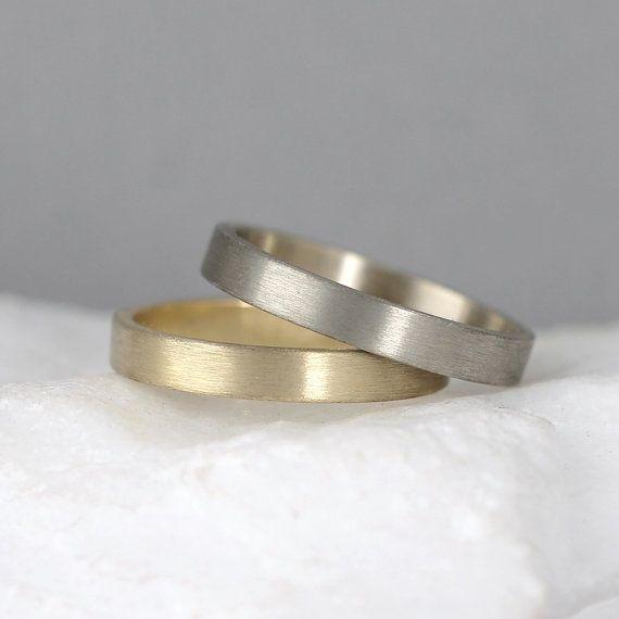 Awesome Gold Wedding Band u Men us or Ladies Wedding Rings u Matte Finish u Yellow or White Gold u Commitment Rings u Classic Flat Gold Bands
