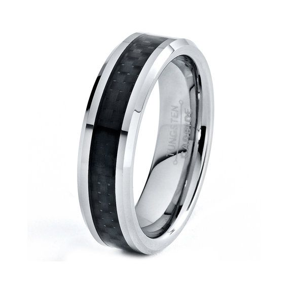 mens tungsten carbide wedding band ring 6mm carbon by giftflavors 44