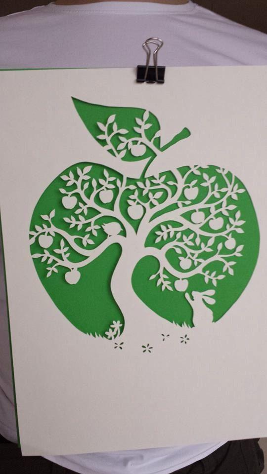 Papercut DIY Design Template 'Apple Tree' by PaperPandaPapercuts