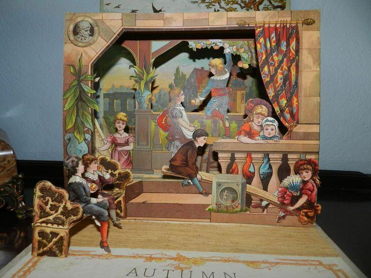 Autumn Beautiful antique pop up book 1884 Mcloughlin. still got this