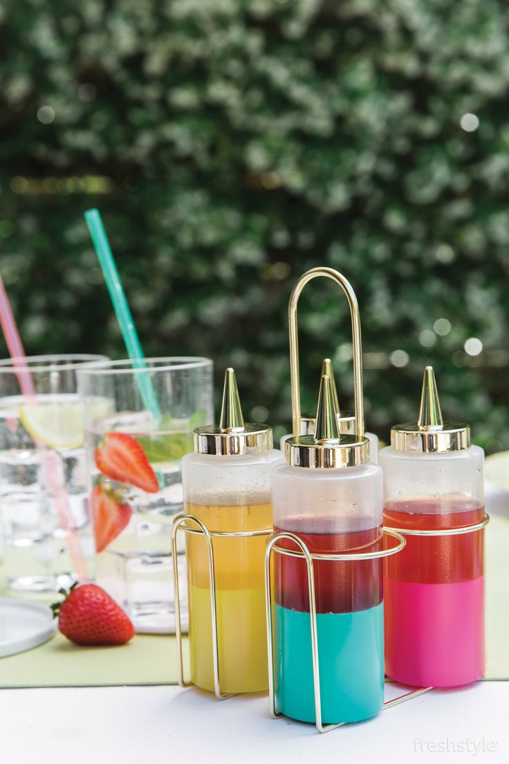 Oh Joy condiment holders to hold fresh fruit syrups to make your very own Italian sodas and spritzers!
