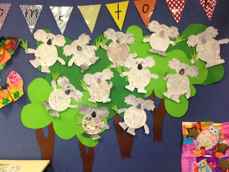 Koala Lou, Mem Fox- newspaper collage craft activity on unit wall