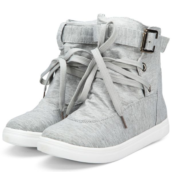 Flat Lace Up High Top Canvas Shoes Casual Trainers Ankle Boots