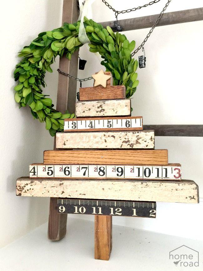 Repurposed Ruler Christmas Tree www.homeroad.net