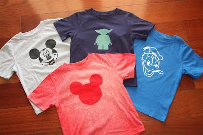 Cute DIY Disney T-shirts. Red one made with bleach others with freezer paper and fabric paint - links to tutorials.  Counting Coconuts: Getting Ready for Mickey! - Part 2