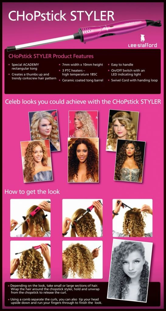 LEE STAFFORD CHOPSTICK STYLER HAIR TONGS & CURLING WAND. For more information http://www.leestaffordchopstickstyler.co.uk/