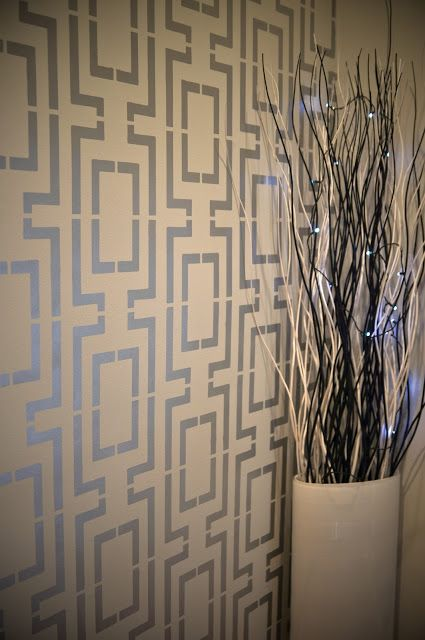 Walls stenciled with Modern Masters Silver Metallic Paint | By Memento Bracelet